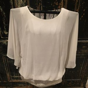 Dress Barn Flowing White Top with Lace Detailing